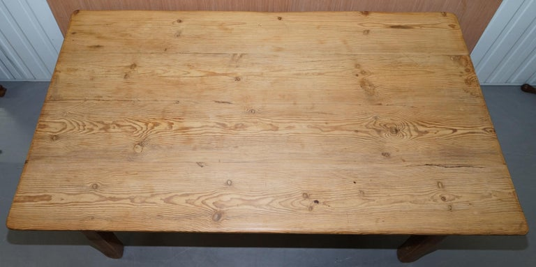 English Large Wide Vintage Farmhouse Refectory Dining Table with Twin Stretchers in Pine