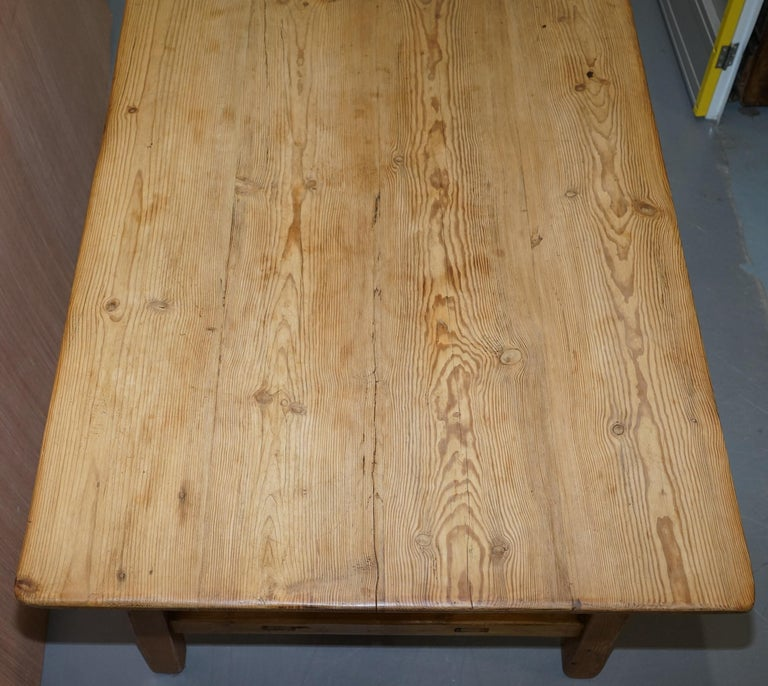 Hand-Crafted Large Wide Vintage Farmhouse Refectory Dining Table with Twin Stretchers in Pine