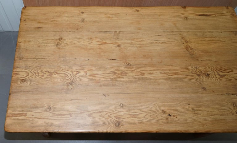 Large Wide Vintage Farmhouse Refectory Dining Table with Twin Stretchers in Pine 1