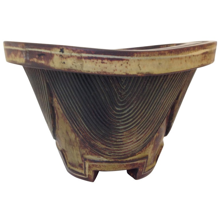 Rustic one-of-a-kind, hand thrown stoneware pottery centerpiece bowl vase with lovely etched design. For Gustavsberg. Signed, with studio insignia, date letter, and stamped Farsta five times.