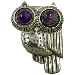 Large William Spratling Silver and Amethyst Owl Brooch, 1940-1944