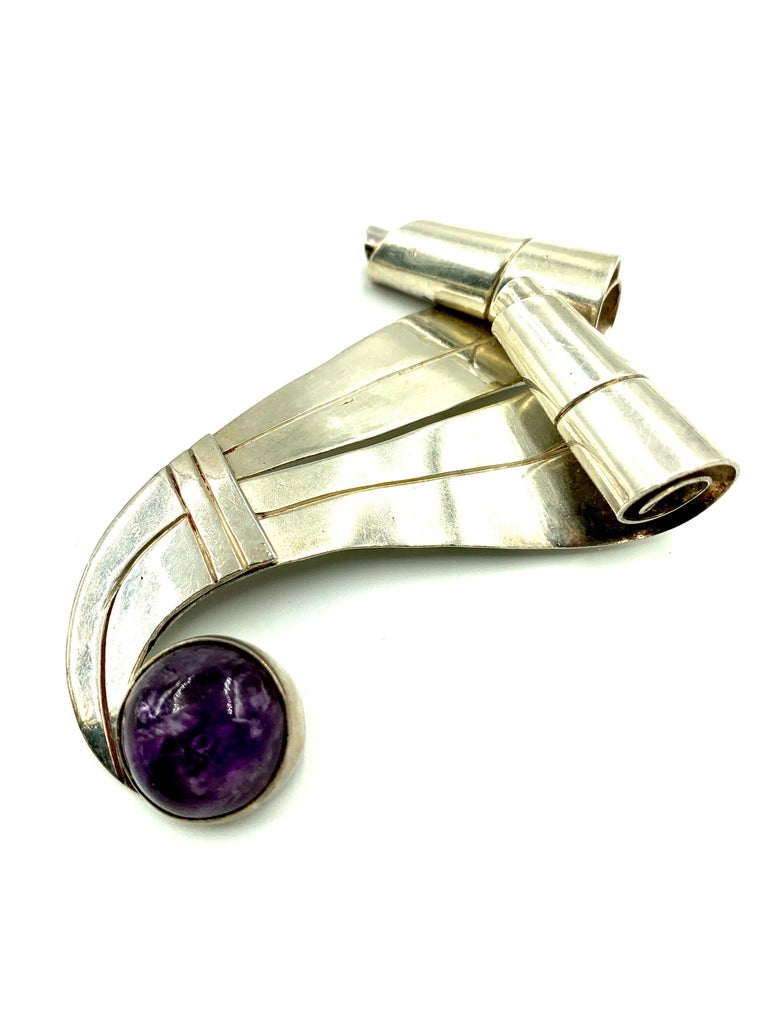 Cabochon William Spratling Large Silver and Amethyst Swirl Ribbon Brooch, 1940s For Sale