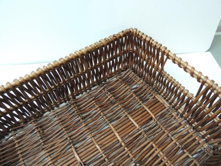 Bohemian Large Willow Magazine Basket with Handles