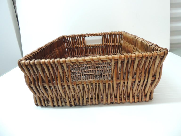 Indonesian Large Willow Magazine Basket with Handles