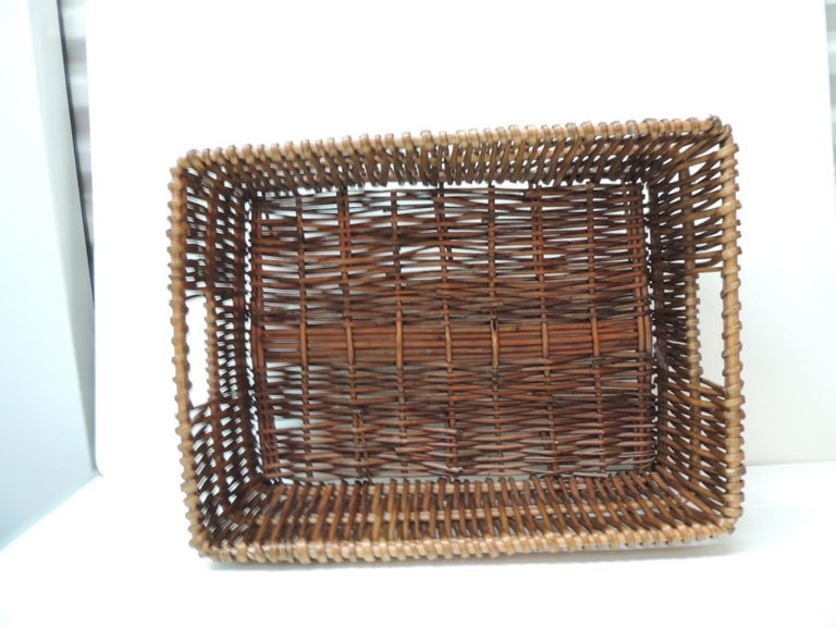 Hand-Crafted Large Willow Magazine Basket with Handles