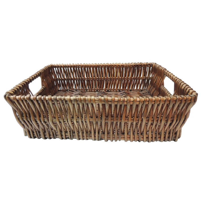 Large Willow Magazine Basket with Handles