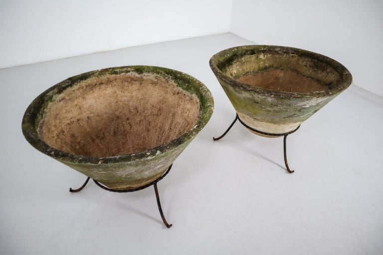 Swiss Large Willy Guhl Garden Stone Planters on Stands, Switzerland, 1960s For Sale