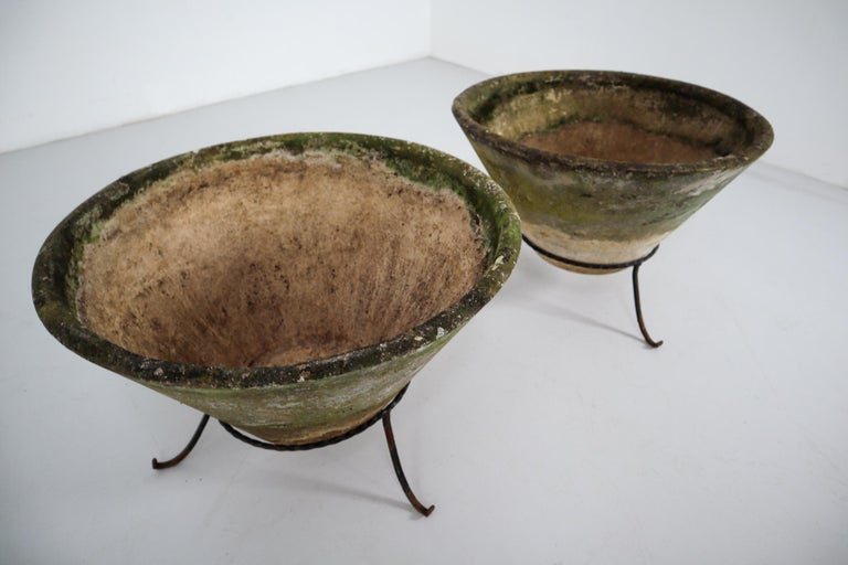 20th Century Large Willy Guhl Garden Stone Planters on Stands, Switzerland, 1960s For Sale