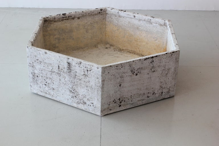Unique hexagon shaped planter by Swiss architect Willy Guhl. Great patina. Two available! Sold individually.