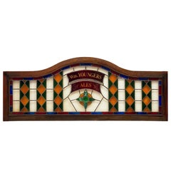 Large Wm. Youngers Ales Stained Glass Pub Sign from Scotland