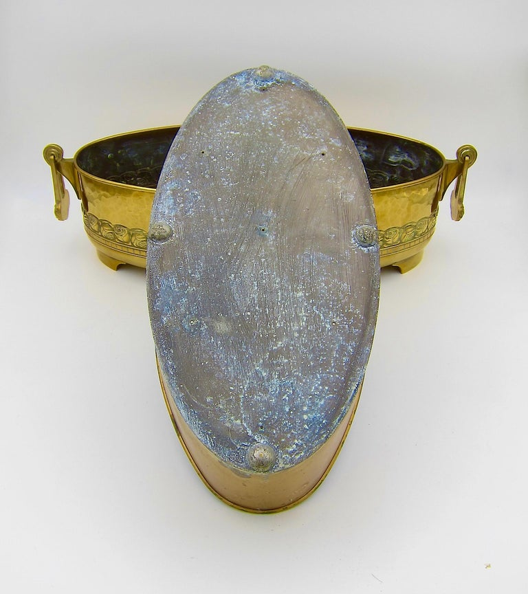 Large WMF Art Nouveau Oval Planter in Golden Yellow Brass, circa 1910 5