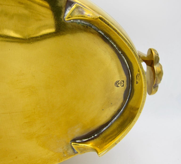 Large WMF Art Nouveau Oval Planter in Golden Yellow Brass, circa 1910 1