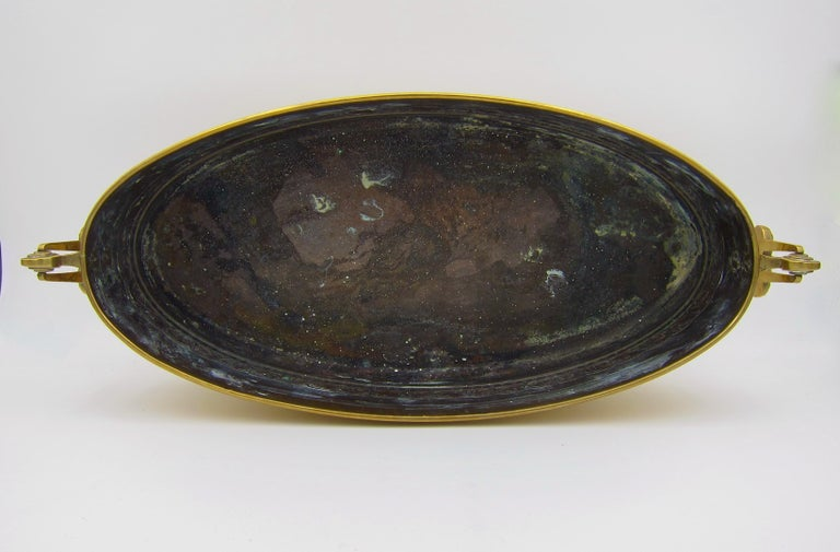 Large WMF Art Nouveau Oval Planter in Golden Yellow Brass, circa 1910 3