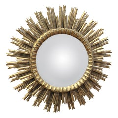 Large Wood and Glass Convex Mirror, circa 1960