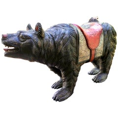 Large Wood Carved and Polychrome Painted Carousel Bear