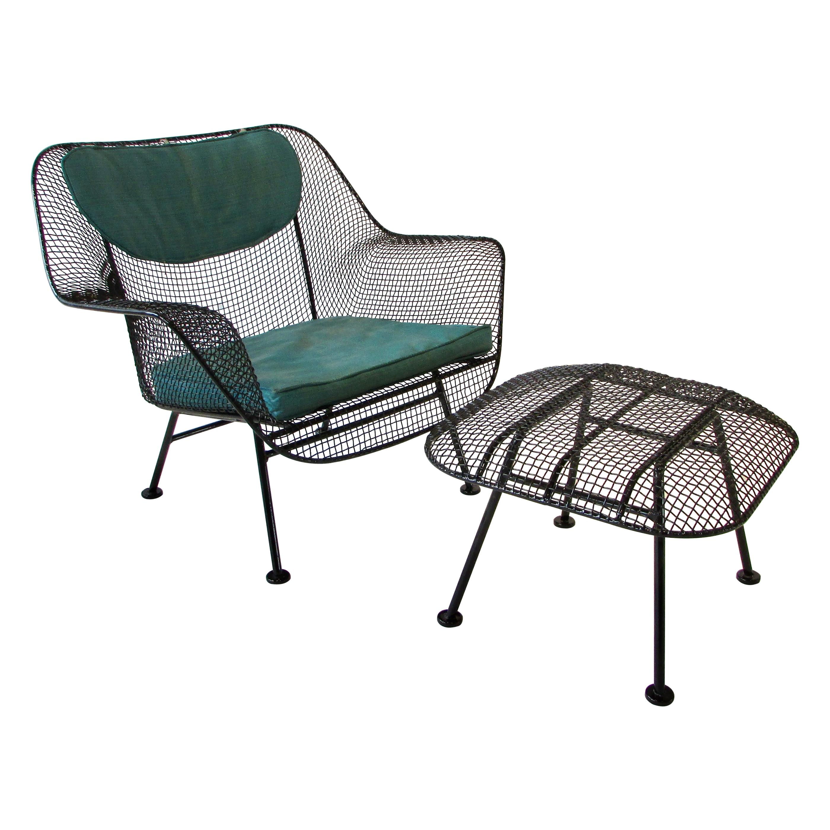 Large Woodard Sculptura Wrought Iron with Steel Mesh Lounge Chair and Ottoman