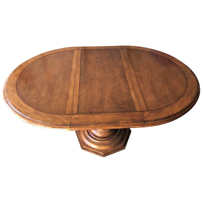 20th Century Large Wooden Baroque-Style Pedestal Dining Room Table by Fremarc For Sale