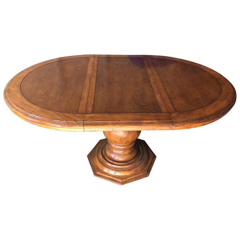 Large Wooden Baroque-Style Pedestal Dining Room Table by Fremarc For Sale