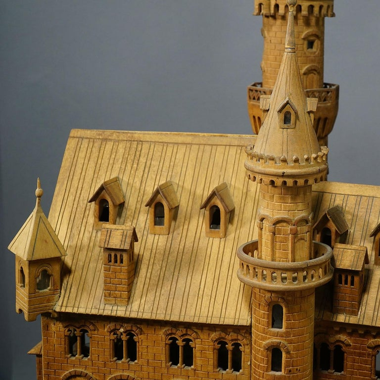 Large Wooden Carved Model of Neuschwanstein Castle For Sale 4