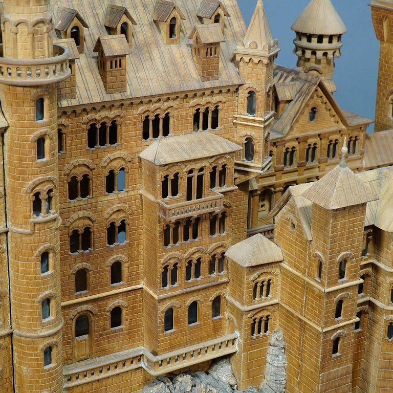 Large Wooden Carved Model of Neuschwanstein Castle For Sale 5