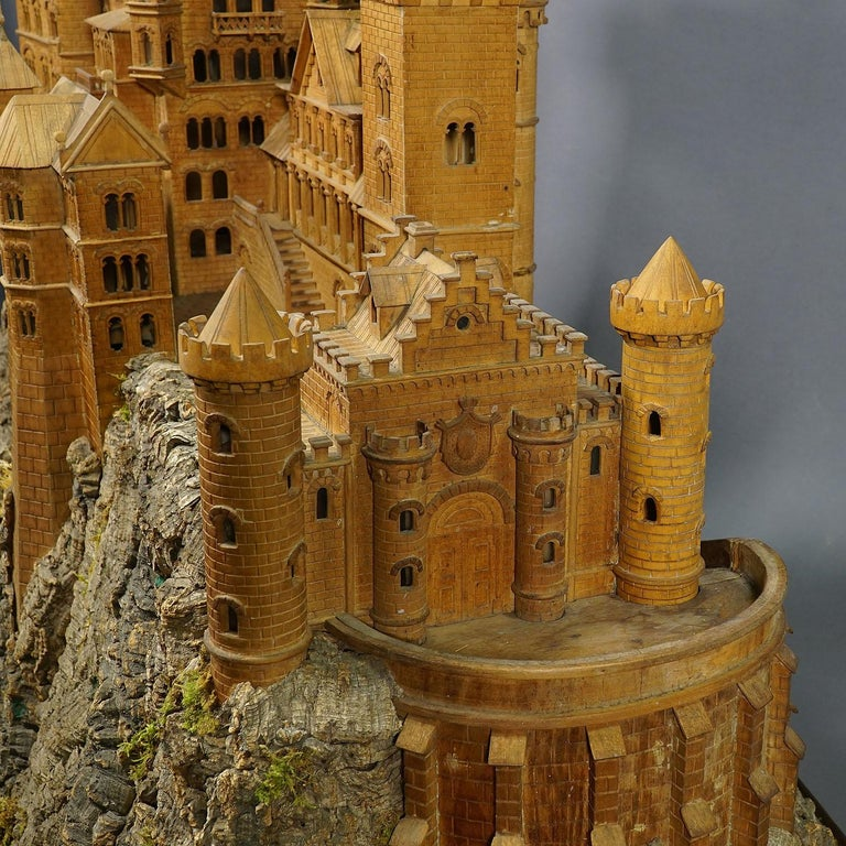 Large Wooden Carved Model of Neuschwanstein Castle For Sale 6