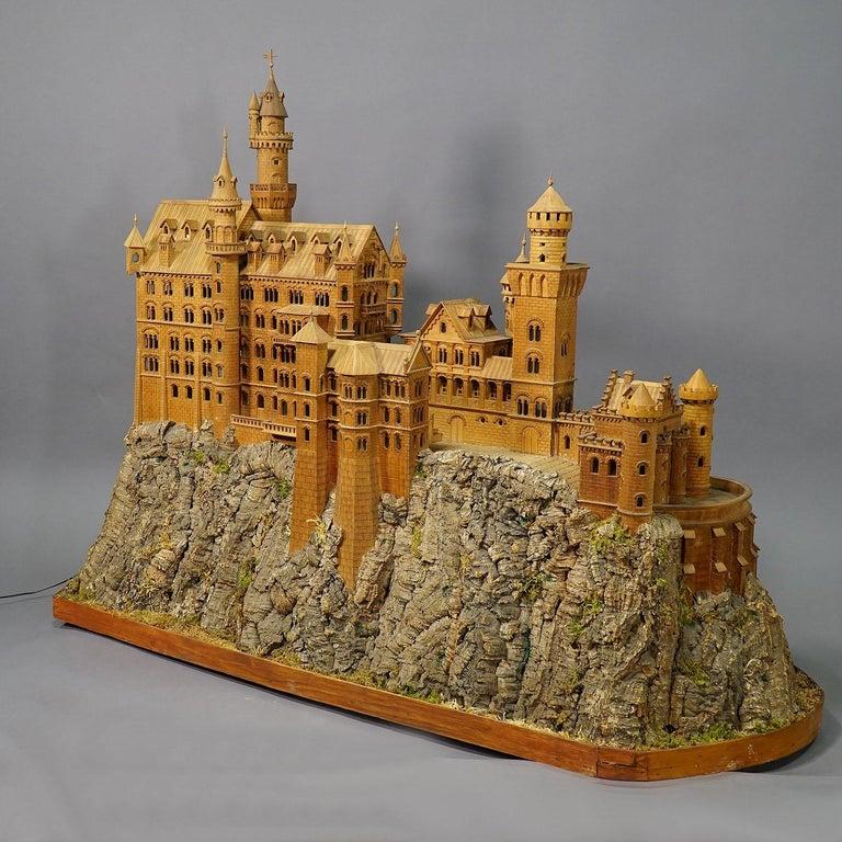 Black Forest Large Wooden Carved Model of Neuschwanstein Castle For Sale