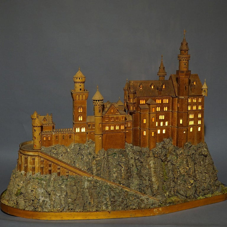 German Large Wooden Carved Model of Neuschwanstein Castle For Sale