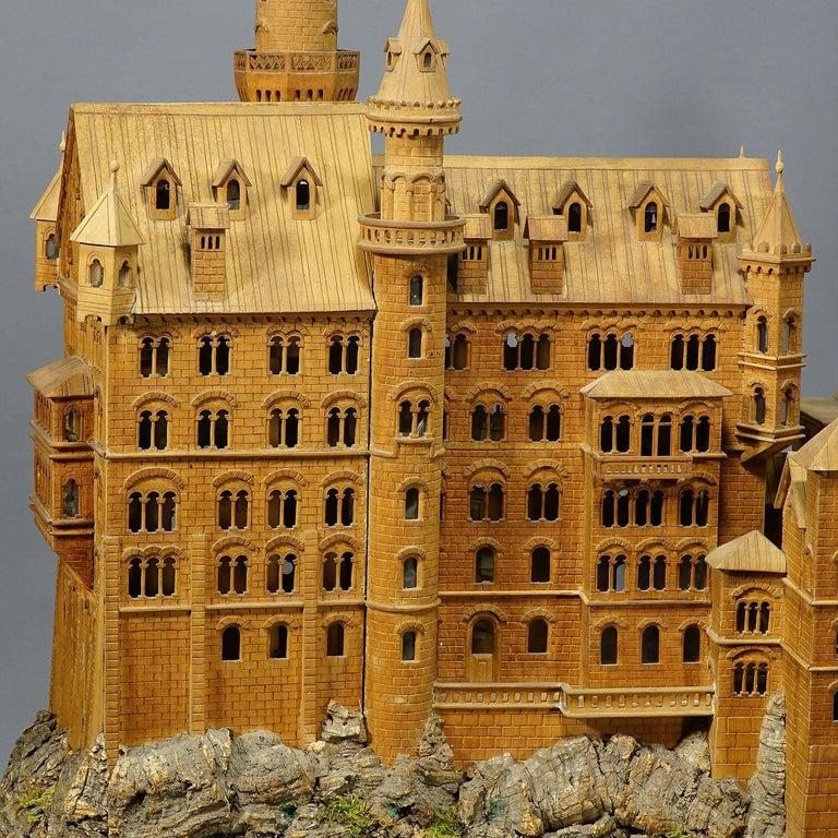 Large Wooden Carved Model of Neuschwanstein Castle In Good Condition For Sale In Berghuelen, DE