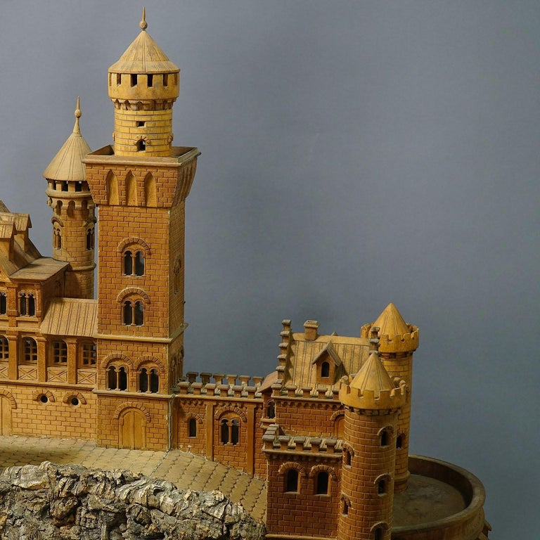20th Century Large Wooden Carved Model of Neuschwanstein Castle For Sale