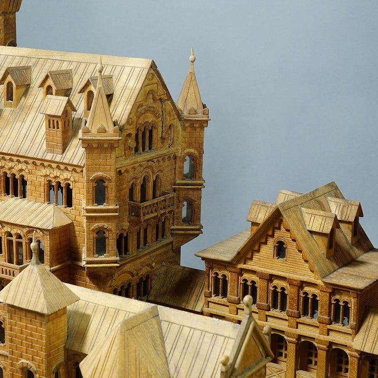 Large Wooden Carved Model of Neuschwanstein Castle For Sale 1