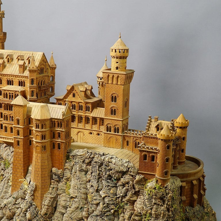 Large Wooden Carved Model of Neuschwanstein Castle For Sale 2