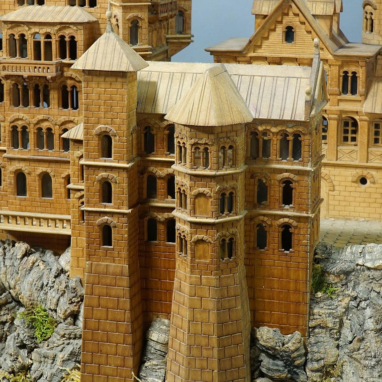 Large Wooden Carved Model of Neuschwanstein Castle For Sale 3