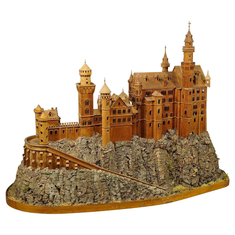 Large Wooden Carved Model of Neuschwanstein Castle