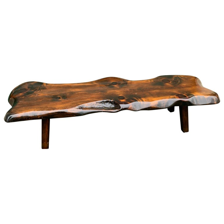 Rustic Large Wooden Folk Art Bench or Cocktail Table For Sale