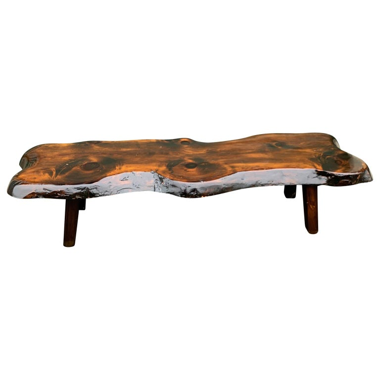 Hand-Crafted Large Wooden Folk Art Bench or Cocktail Table For Sale