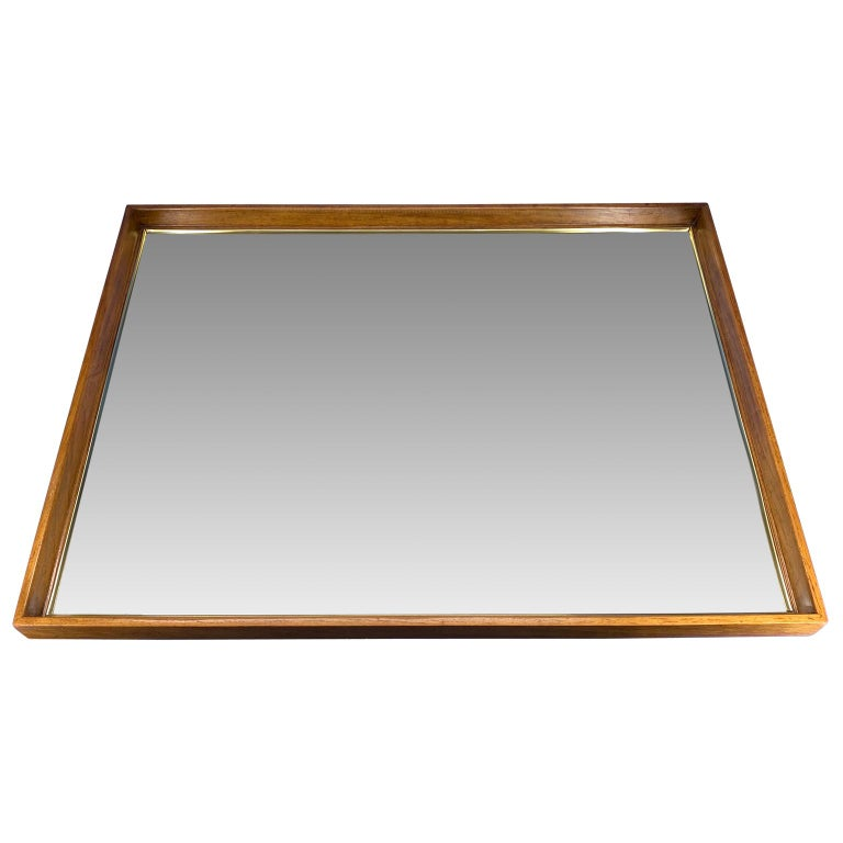 Large wooden Mid-Century Modern rectangular wall mirror.