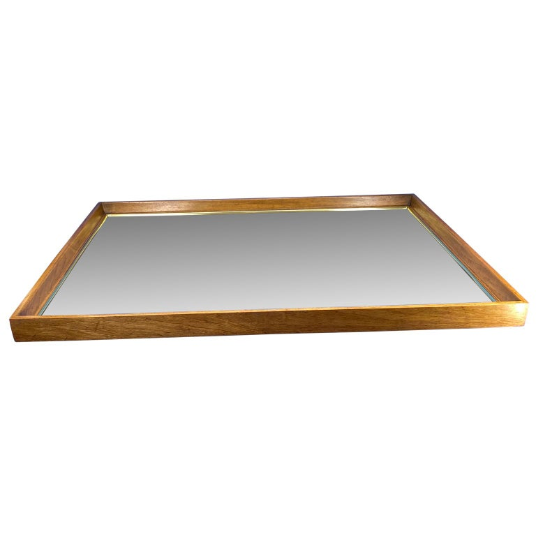 Beveled Large Wooden Mid-Century Modern Rectangular Wall Mirror For Sale