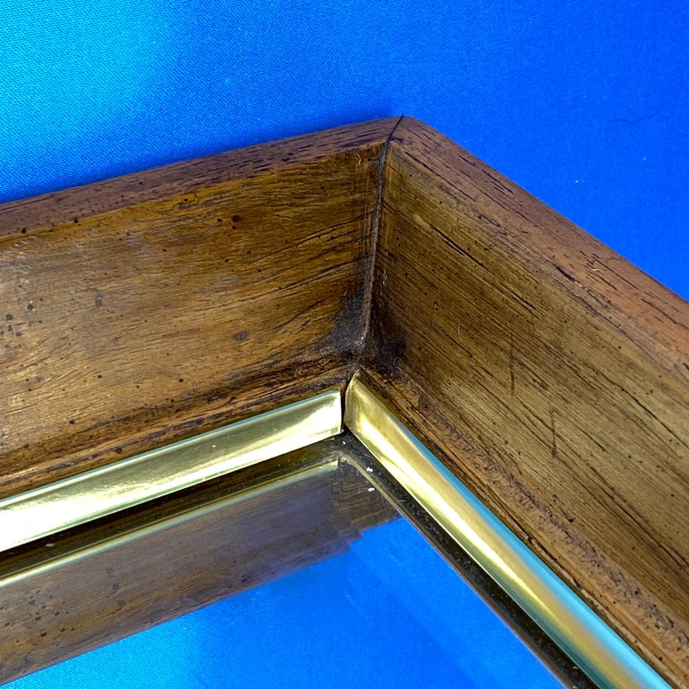Brass Large Wooden Mid-Century Modern Rectangular Wall Mirror For Sale