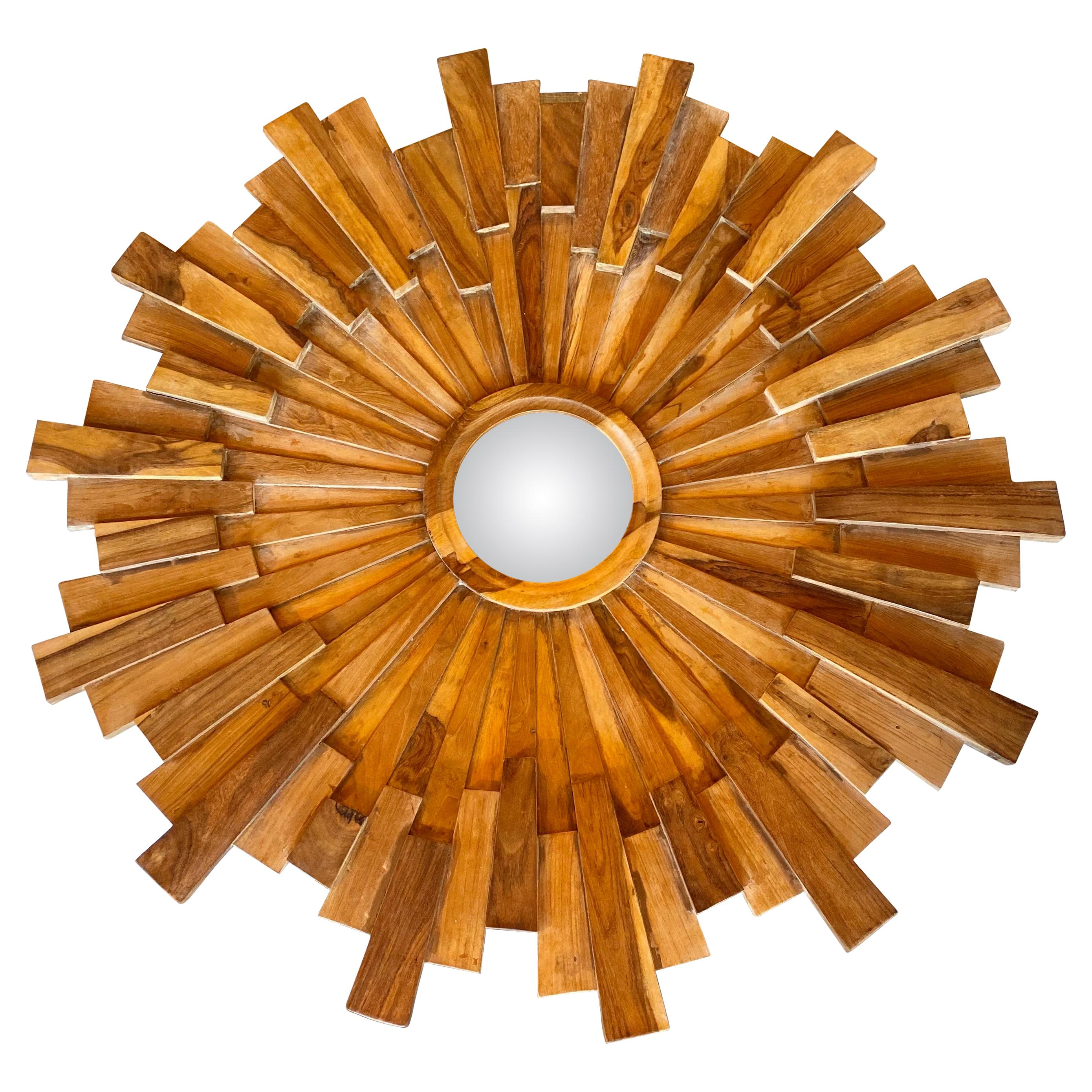 Large Wooden Starburst Mirror