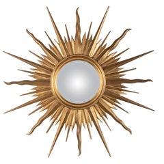 Large Wooden Sunburst Mirror, Mid-20th Century