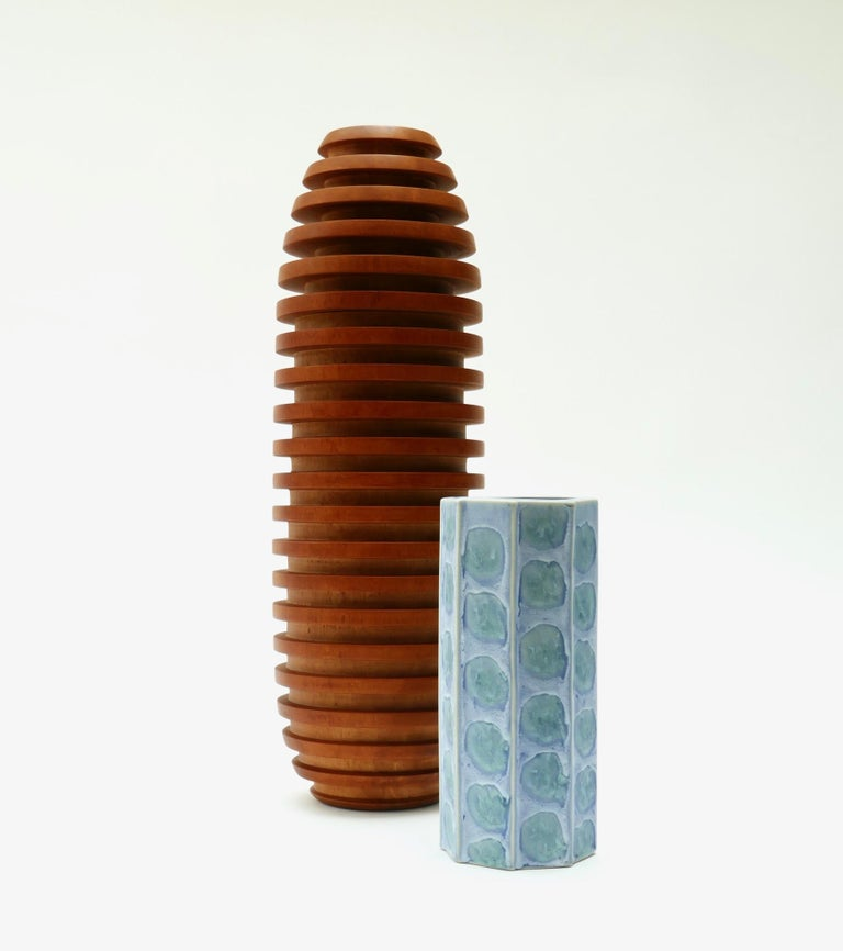 Late 20th Century Large Wooden Vase, 1980s For Sale
