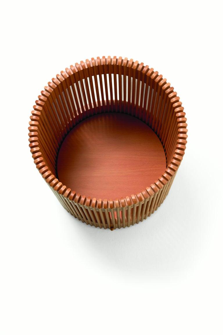 Modern Emanuela Frattini Magnusson Large Wooden Wastepaper Basket for Bottega Ghianda For Sale