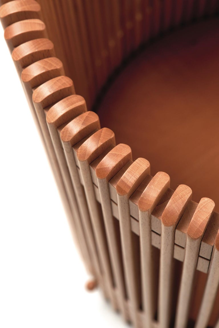 Italian Emanuela Frattini Magnusson Large Wooden Wastepaper Basket for Bottega Ghianda For Sale
