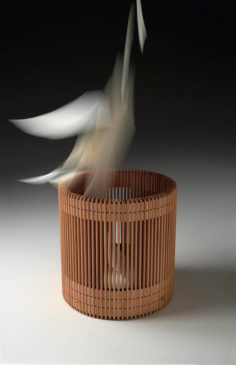 Contemporary Emanuela Frattini Magnusson Large Wooden Wastepaper Basket for Bottega Ghianda For Sale