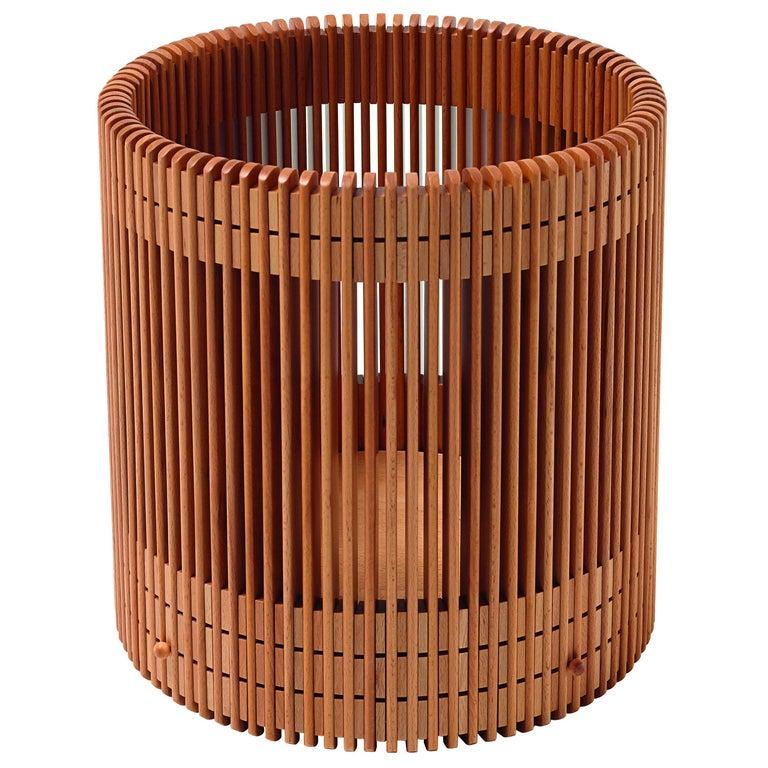 Emanuela Frattini Magnusson Large Wooden Wastepaper Basket for Bottega Ghianda For Sale