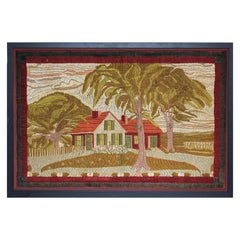 Large Woolwork Picture of a Farmhouse, First Part of the 20th Century