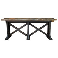 Large Workshop Console Table or High Table, circa 1930
