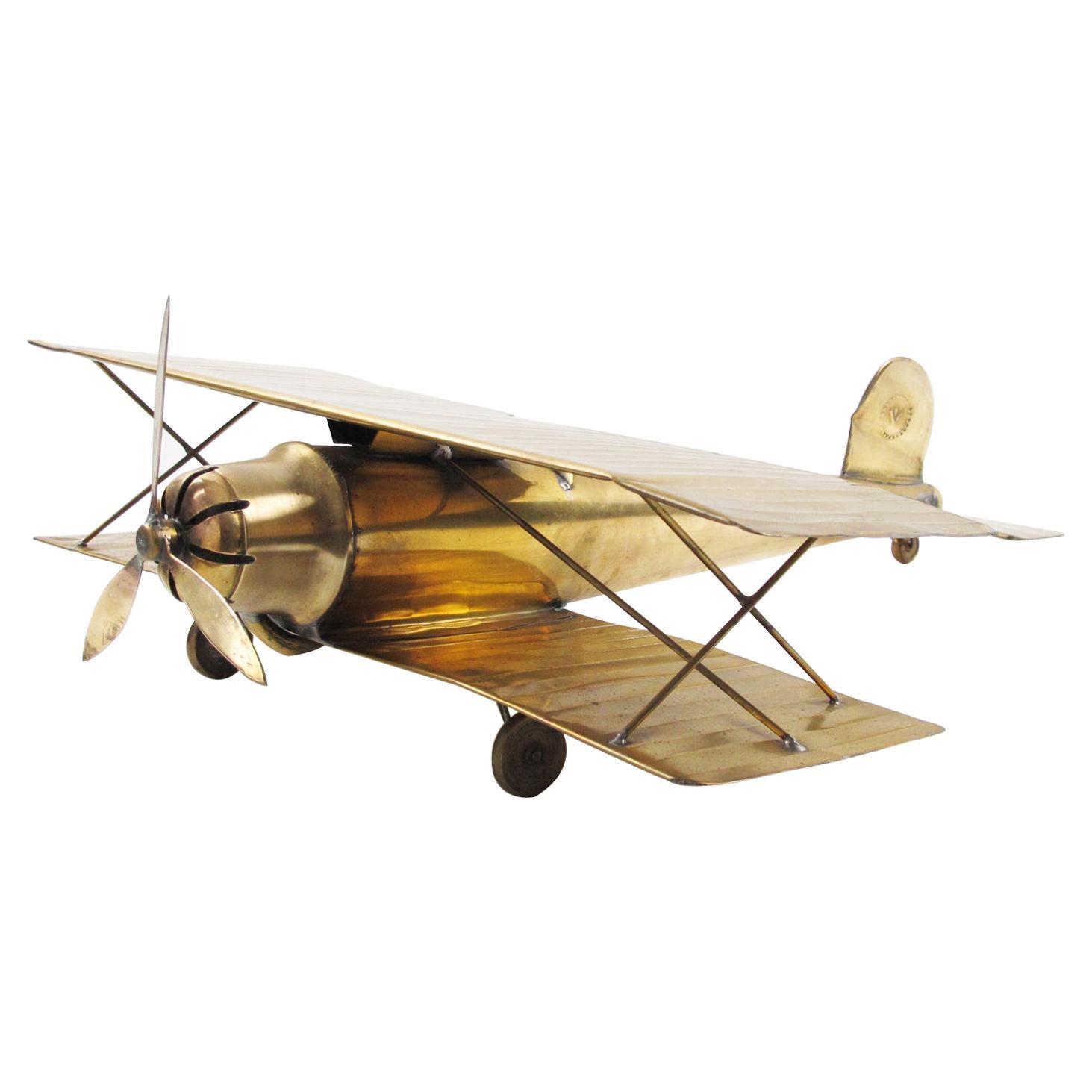 Large World War I Biplane Brass Airplane Aviation Model