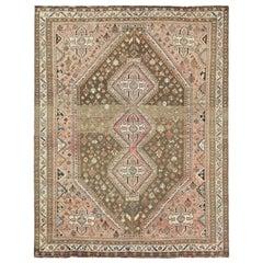 Large Worn Down Vintage Persian Shiraz, Abrash, Geometric Design Handmade Rug