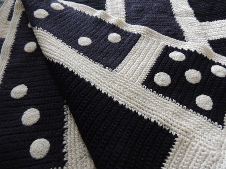 Mid-Century Modern Large Woven Black and White Afghan Throw For Sale